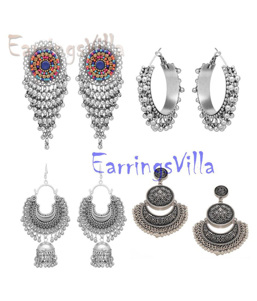 Trendy Silver Jhumki Traditional Fashion Earrings New Arrival Silver Bollywood Oxidised Stylish Afghani Fashion Earrings Combo of 4 Earrings