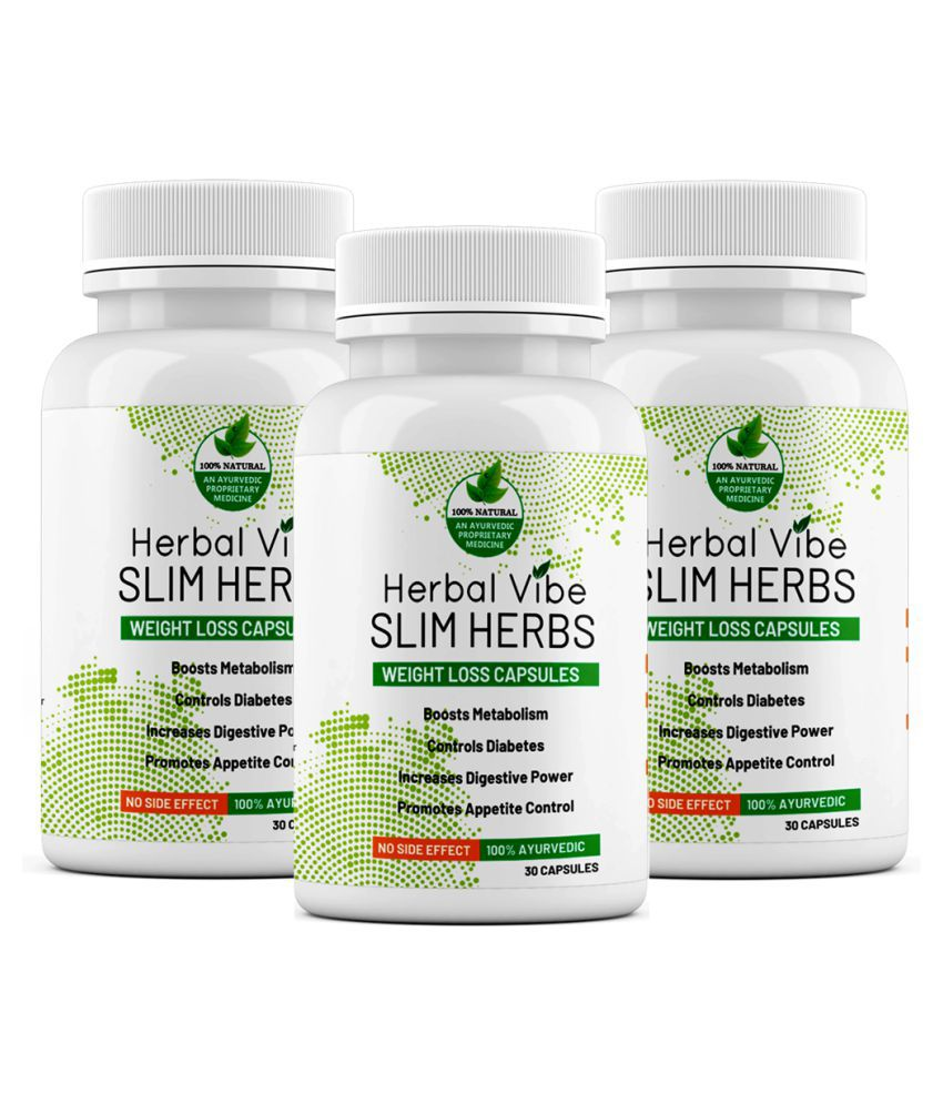 Herbal Vibe Weight Loss Capsule Slim Herbs 30 no.s Unflavoured Pack of 3