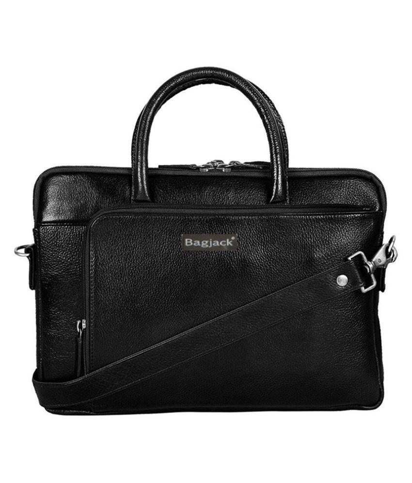 Bag Jack Centauri Equi-Scuto Black Leather Office Bag
