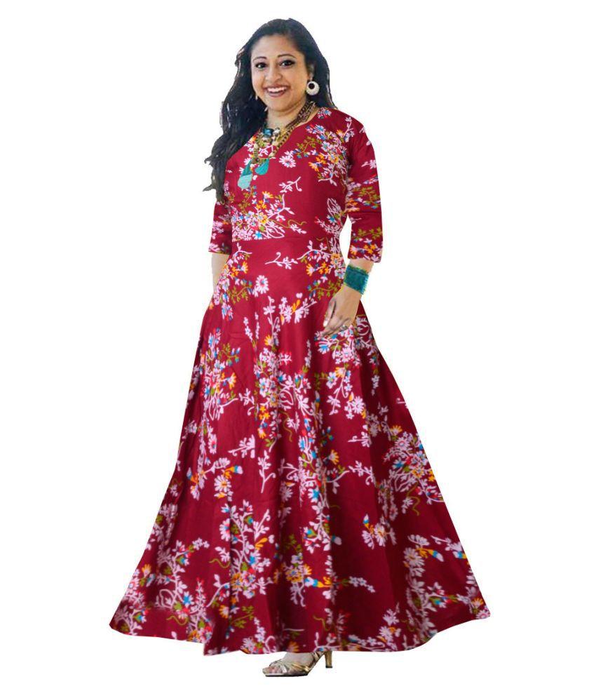 Trendy Fab Rayon Maroon A- line Dress