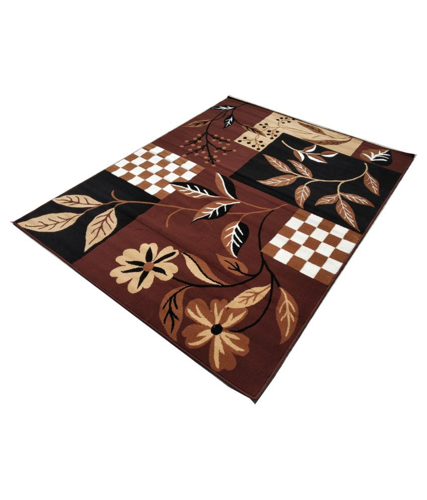 ASAD EMPORIUM RUGS Brown Polypropylene Carpet Floral 5x7 Ft