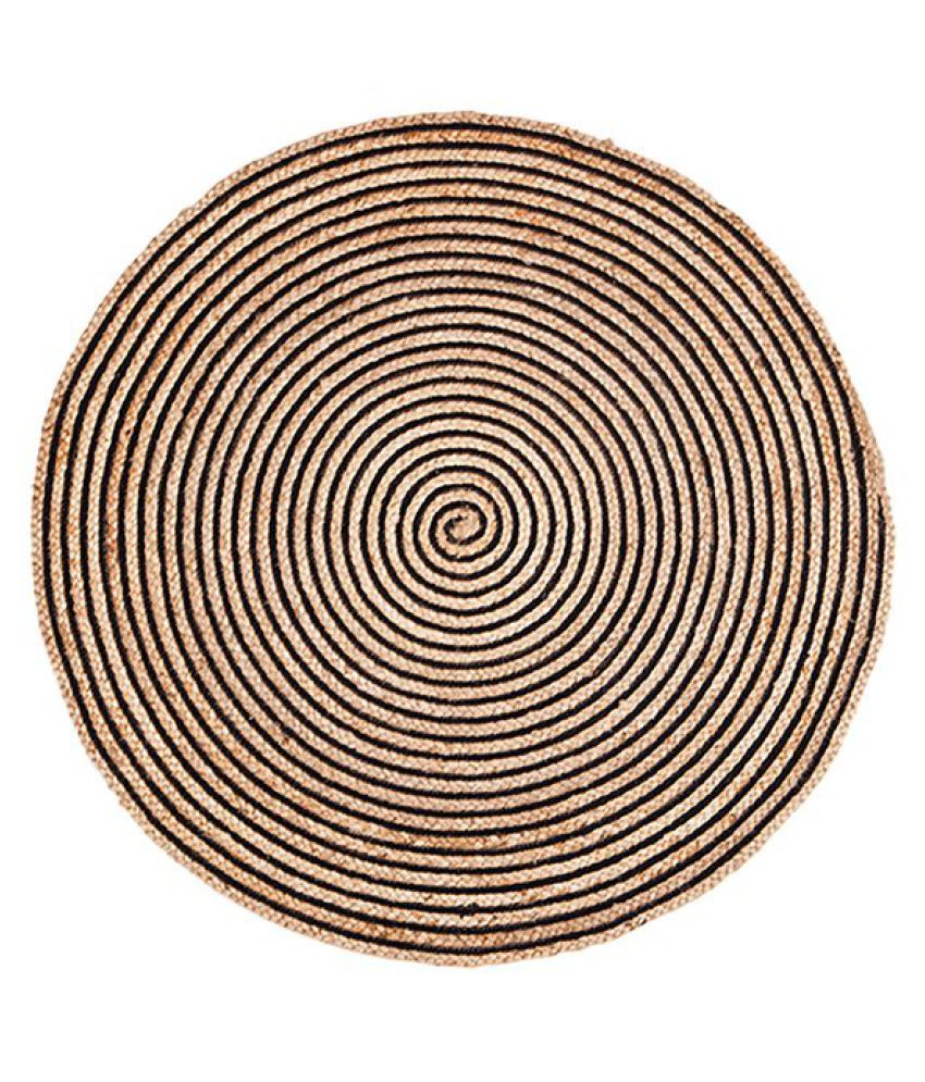 PRINTSHOPPI Black Jute Carpet Natural Other Sizes Ft
