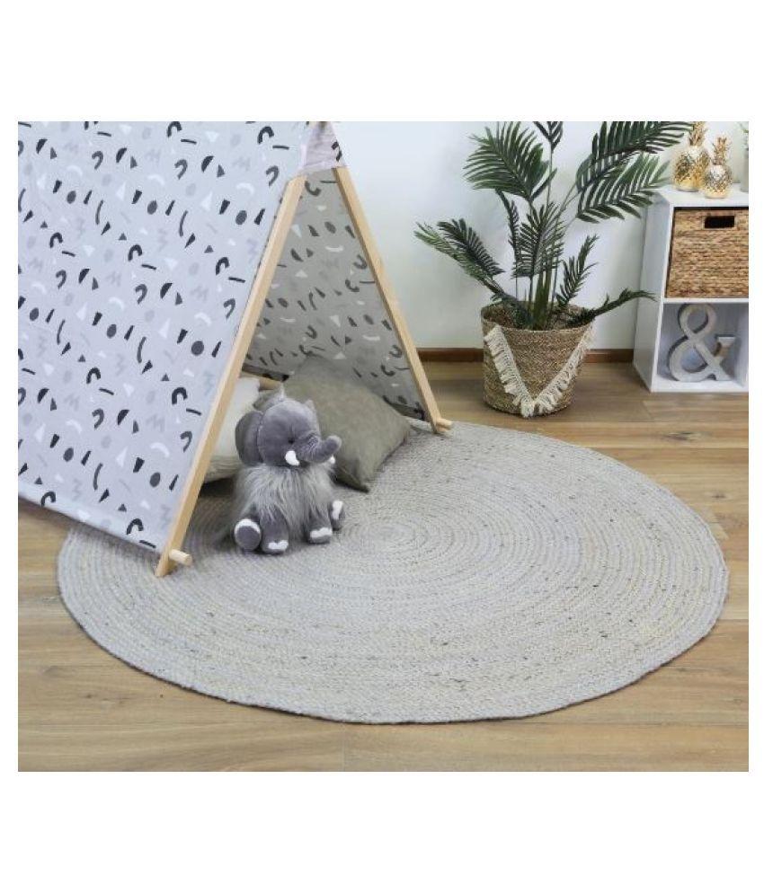 PRINTSHOPPI Gray Jute Carpet Natural Other Sizes Ft