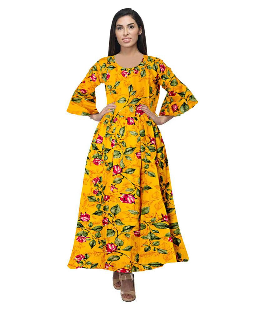 Trendy Fab Rayon Yellow A- line Dress