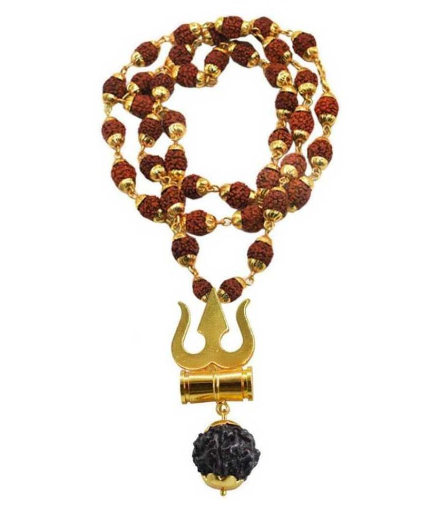 bhaune collections Rudraksha Golden Cap Mala With Damru Locket, , 100% Original and Very Rare Collection