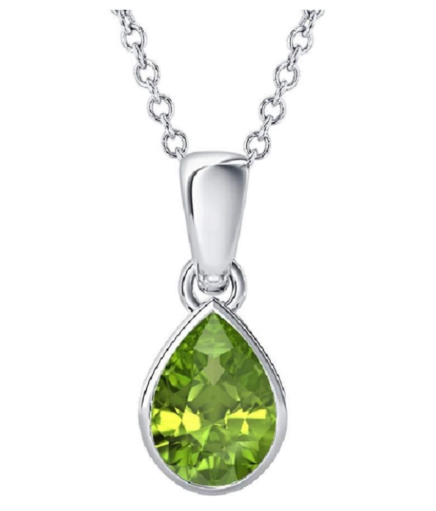 7.25 Carat Natural Green Peridot Stone Sterling Silver Pendant/Locket Green Olivine Precious Pear Cut Gemstone August Birthstone by Lab Certified (Top AAA+) Quality Silver Plated Locket for Unisex