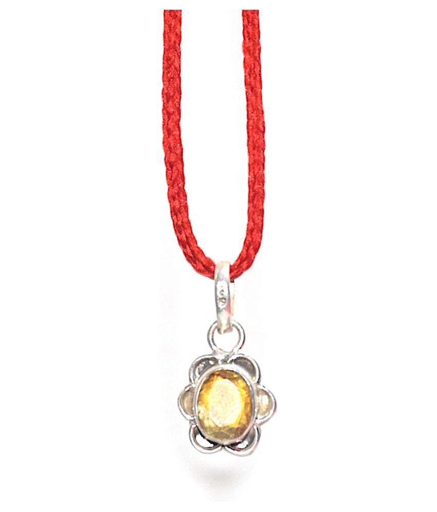 Certified Natural Yellow Sapphire Pendant/Locket (Pukhraj Stone silver Pendant) 100% Original AAA Quality Gemstone Yellow Sapphire Pendant in Silver / Yellow Sapphire Stone Certified 5.25 Ratti