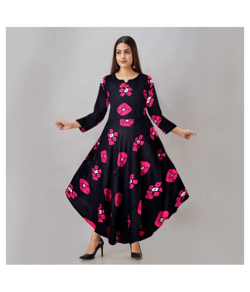Trendy Fab Rayon Black Cut Out Dress