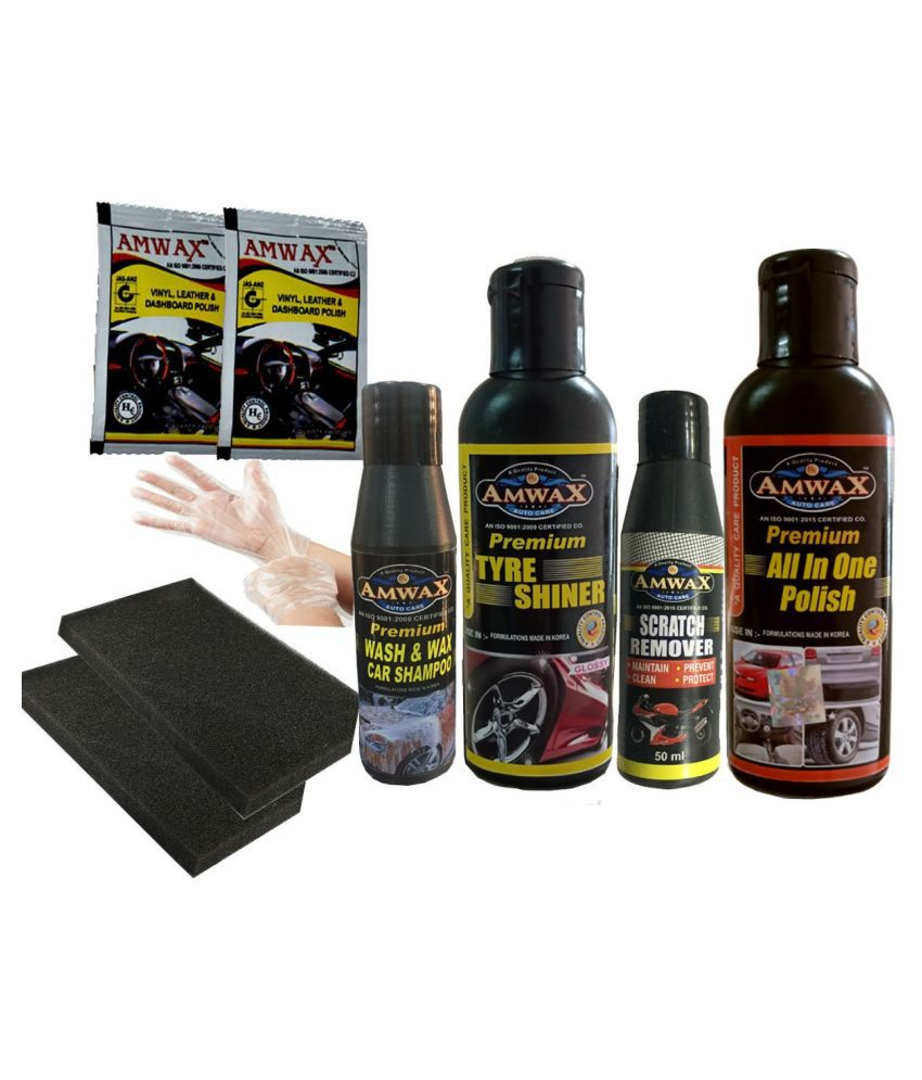 AMWAX CAR & BIKE CARE KIT (Tyre Shiner 120ML+All In One Polish 120ML+Scratch Remover 50ML+Wash & Wax 50ML+Dashboard 10ML(2 Pouch)+Sponge)