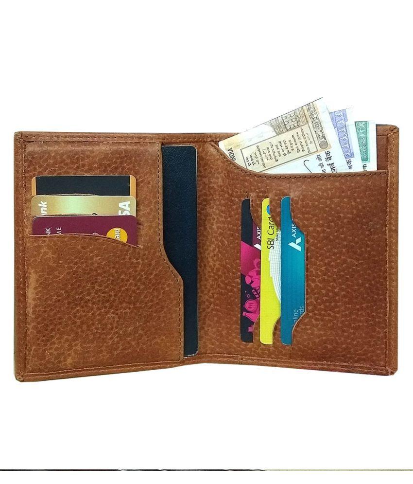 Vegan Leather Tan Casual Passport Wallet
