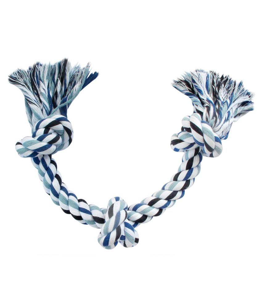 The Oceans Cotton Rope Bone Dog Chew 3 Knots Toy (Colour May Vary, 13-inch)
