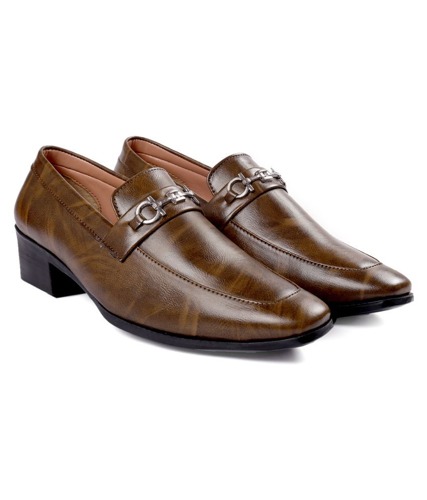 YUVRATO BAXI Party Artificial Leather Brown Formal Shoes