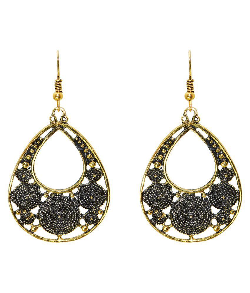 Golden earrings, Golden Oxidised Stylish Fashion Earrings for Girls & women Golden oxidised Drops & Danglers Fashion Jewellery Dazzling earrings in pear shape
