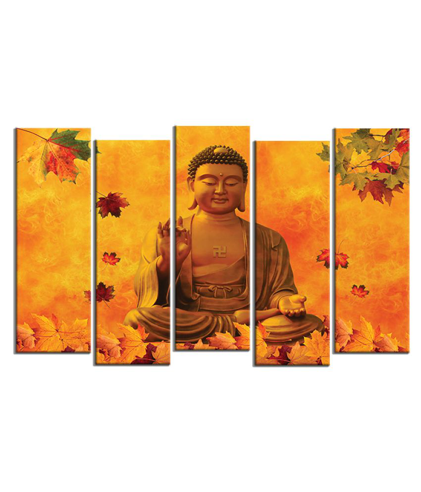 KALARKARI Lord Buddha 5 panel wall art with MDF stretch frame Canvas Painting With Frame