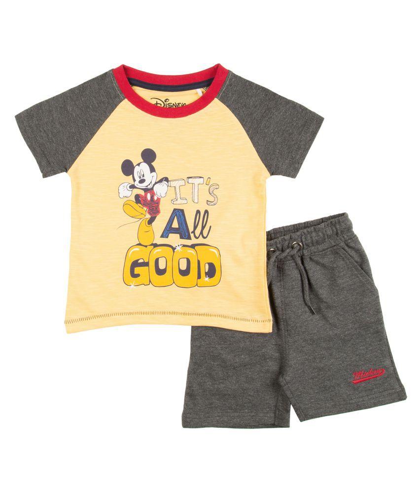 Boys Mickey Mouse Print T-Shirt And Shorts Set