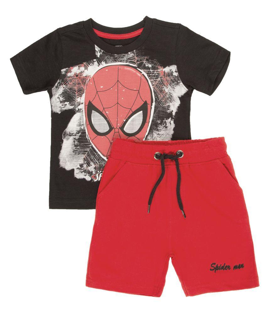 Boys Spiderman Print T-Shirt And Shorts Set