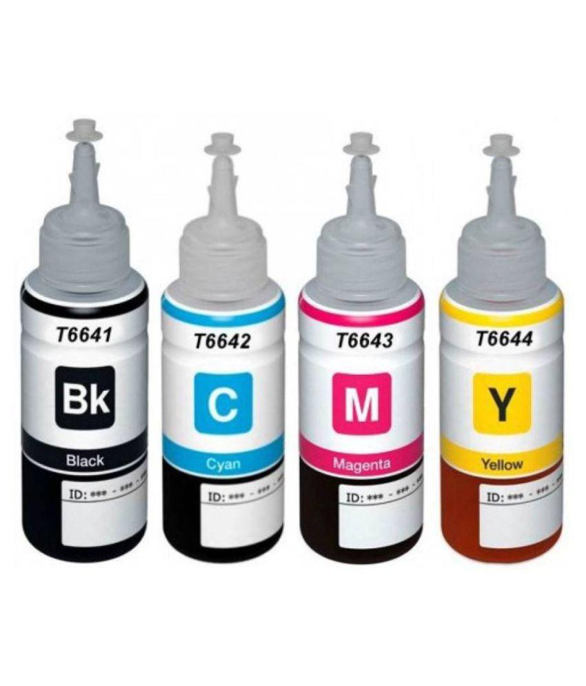 Refill Multicolor Pack of 4 Ink bottle for Epson L100 / L110 / L130 / L200 / L210 / L220 / L300