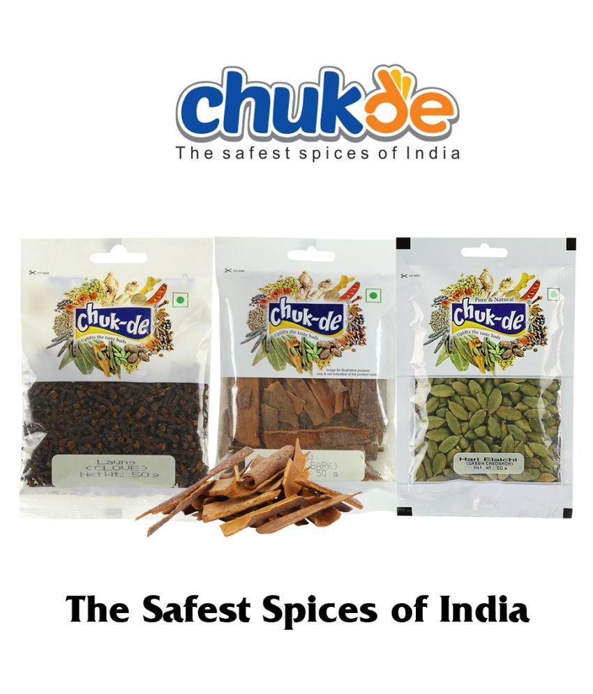 CHUKDE Dalchini/Cassia Bark 50g, Green Elaichi 50g, Loung 50g 150 gm Pack of 3