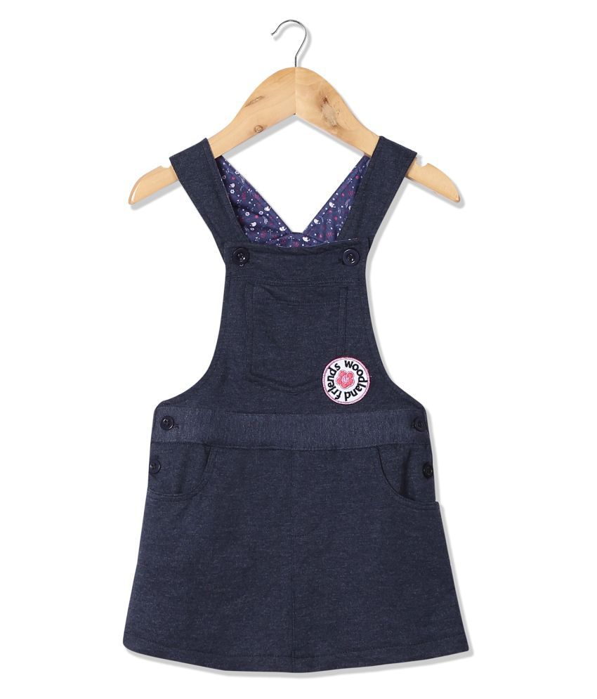 Girl Appliqued Knit Dungarees