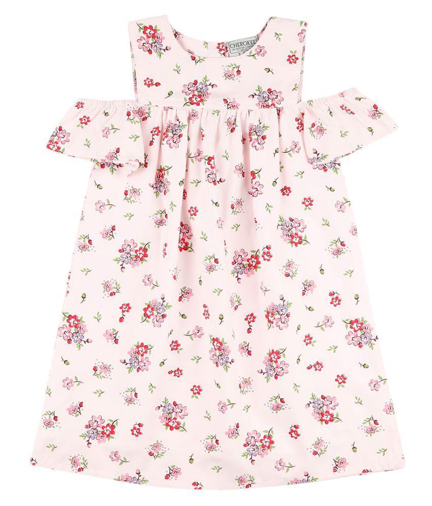 Girls Floral Print Cold Shoulder Dress