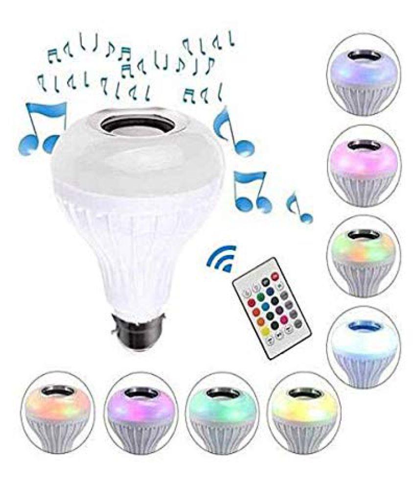 Music Light Bulb, 12W B22 LED Light Bulb With Bluetooth Speaker RGB Self Changing Color Lamp Built-In Audio Speaker