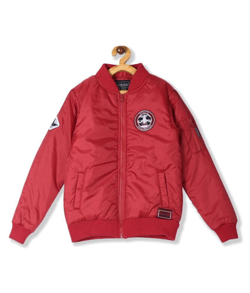 Red Boys Solid Bomber Jacket