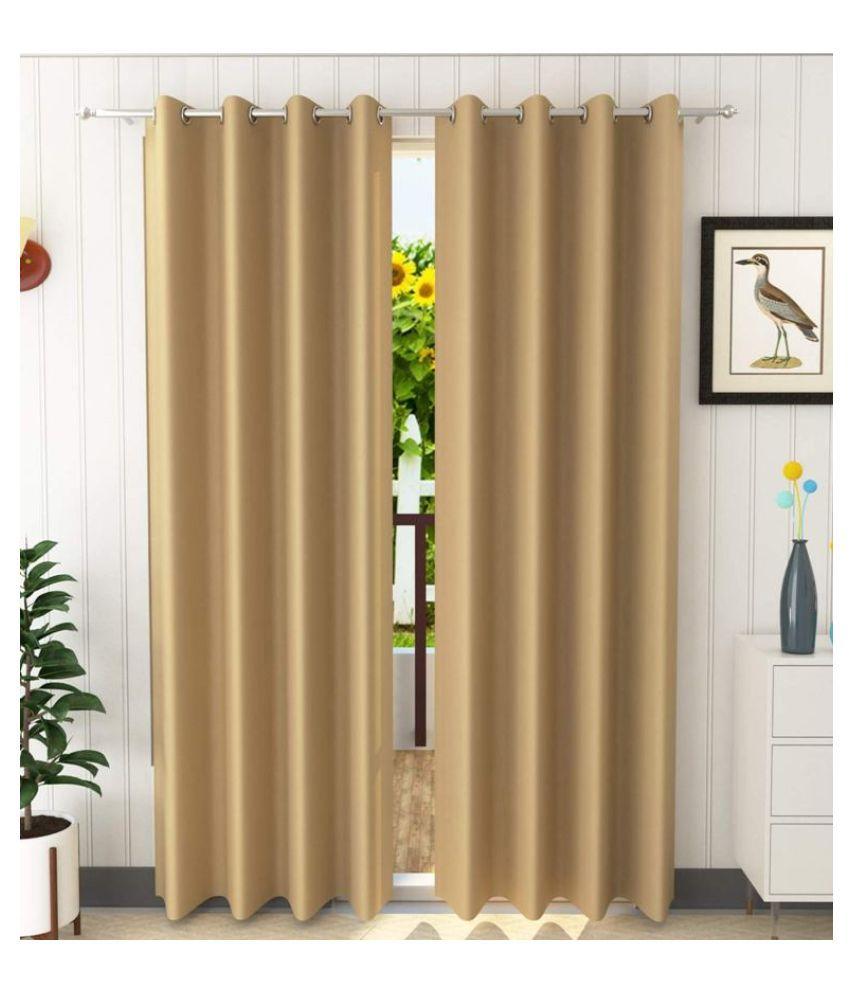 M.V HOMES Set of 2 Window Blackout Room Darkening Eyelet Satin Curtains Gold