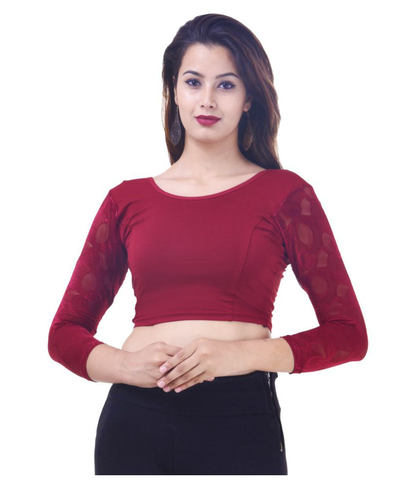 ADABHUT Maroon Lycra Readymade without Pad Blouse