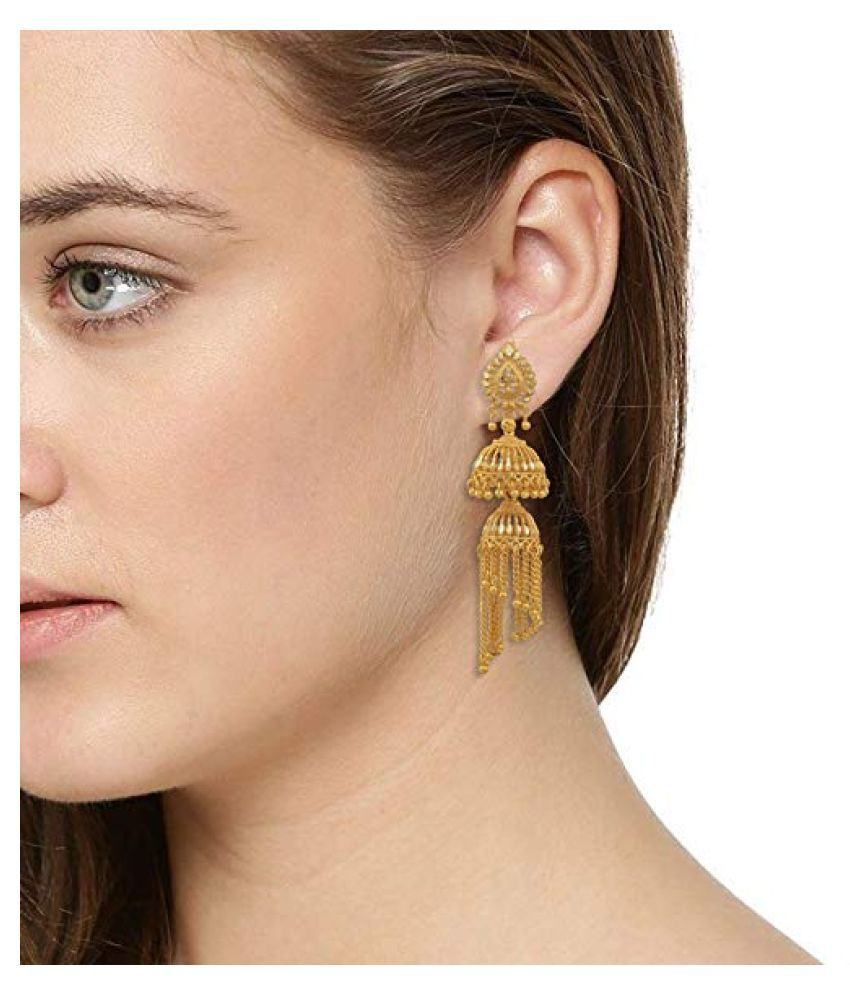 Happy Stoning Gold Plated Brass Jhallar tasselled jhumka earrings for women