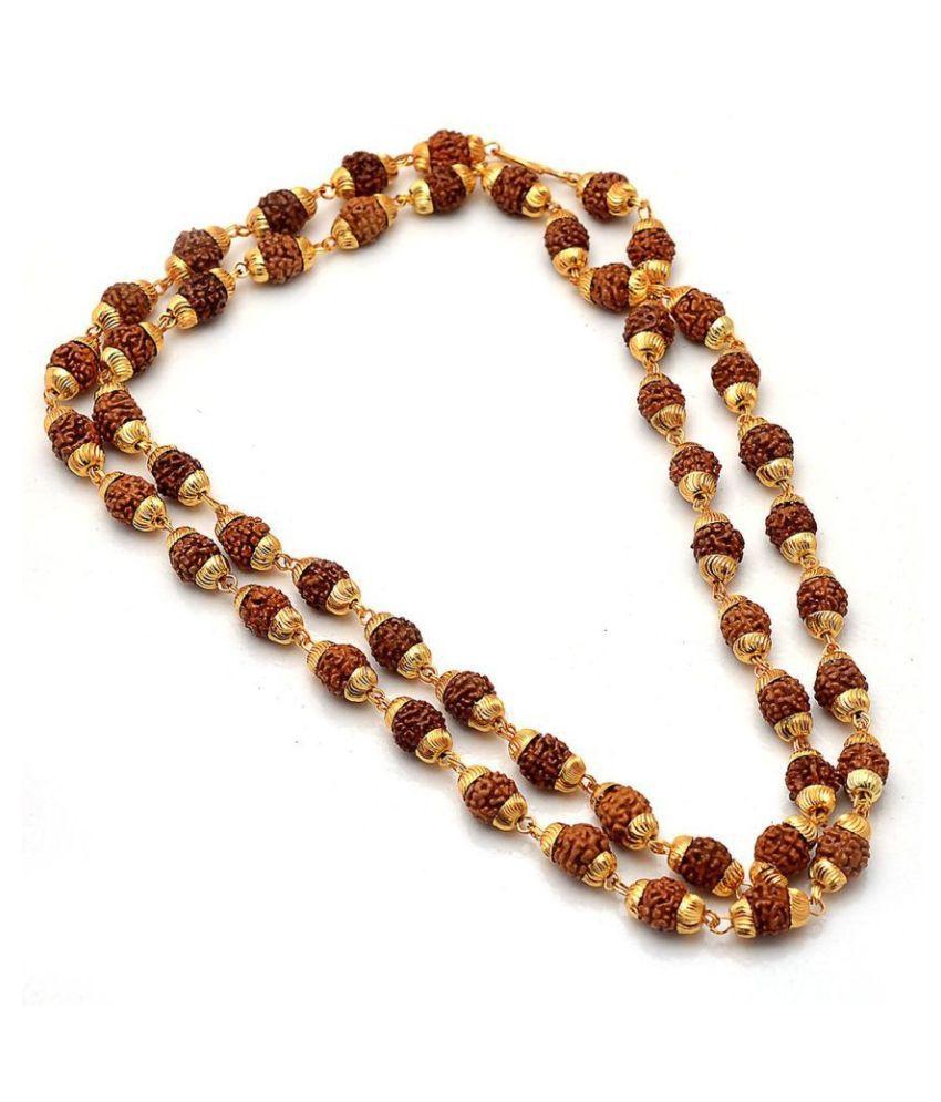 5 Mukhi Rudraksha/Rudraksh Mala With Gold Plated Cap - Pack of 1
