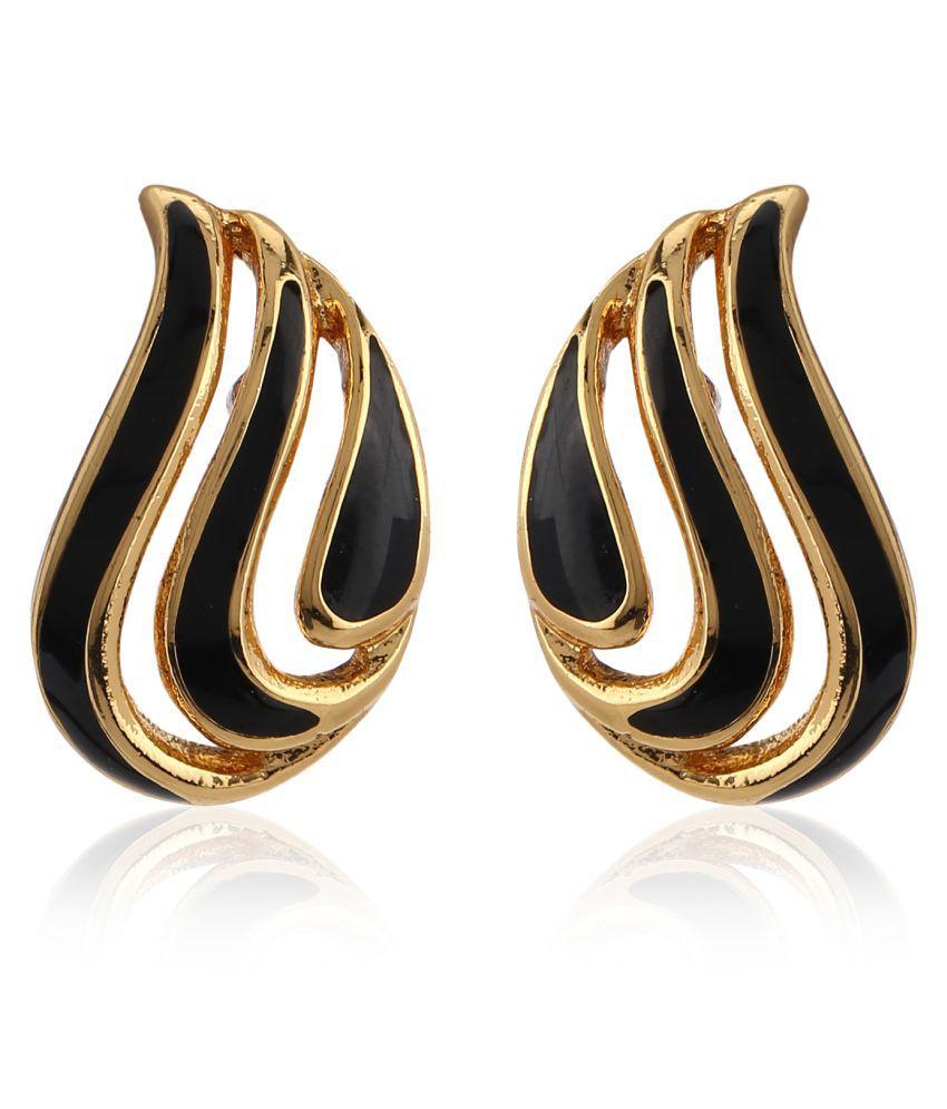 Estele Collection Gold plated Black Enamel stud