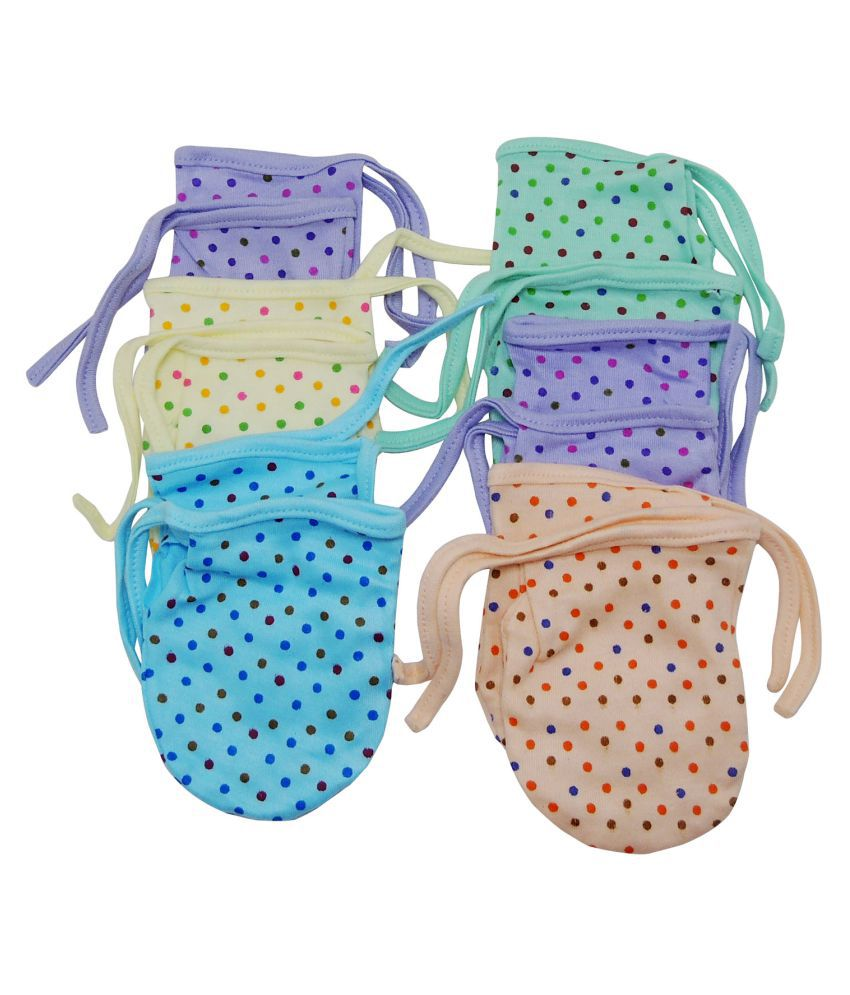 Life Begin with Satyamani Baby Mitten Printed Dori Soothing Colours (Pack of 12)