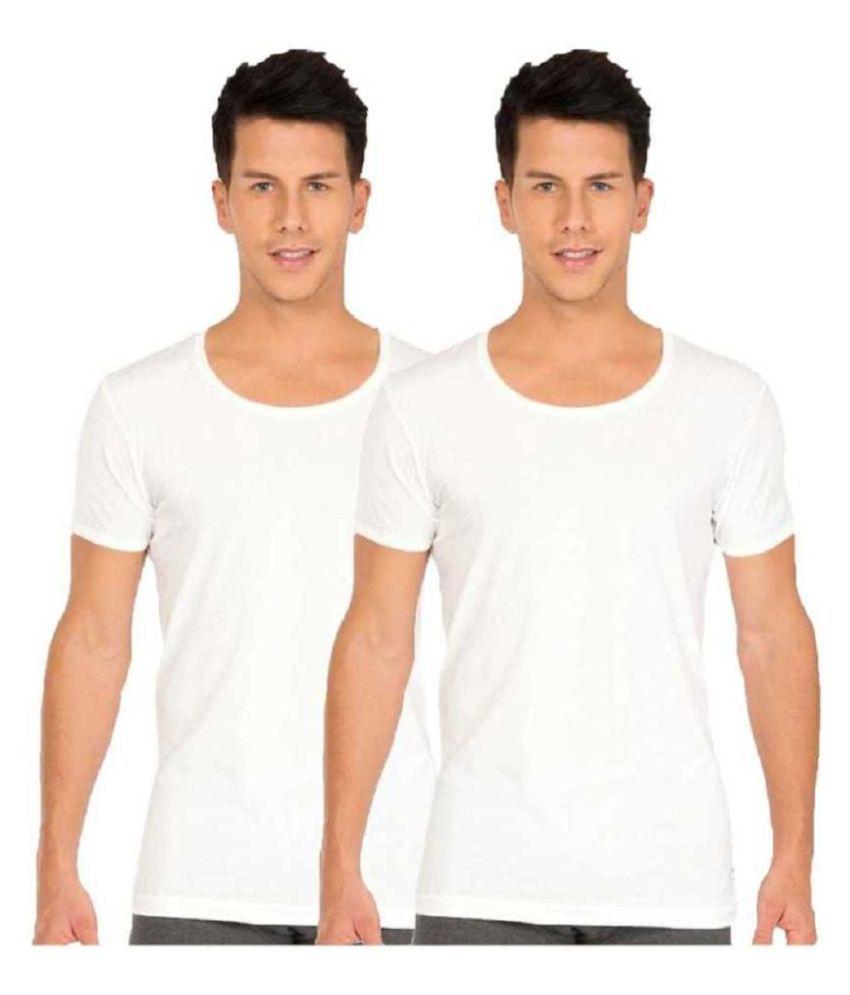 lux venus White Half Sleeve Vests Pack of 2