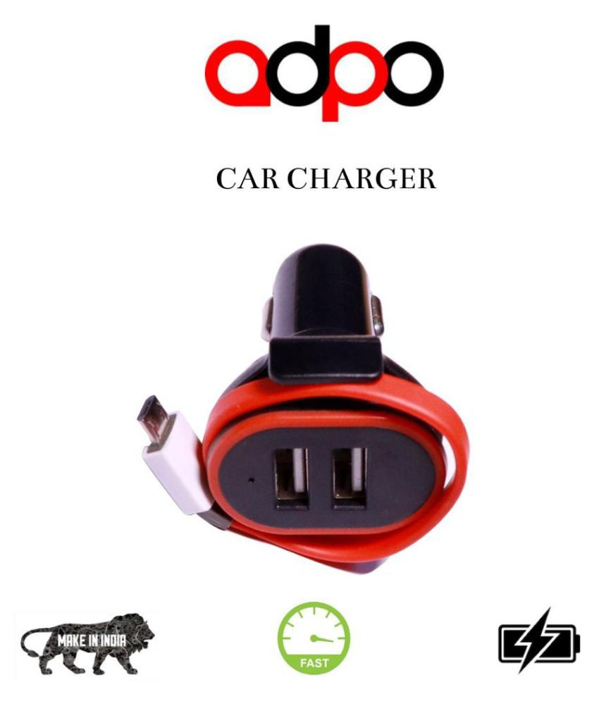 Adpo Car Mobile Charger 2 Port Qualcomm Black