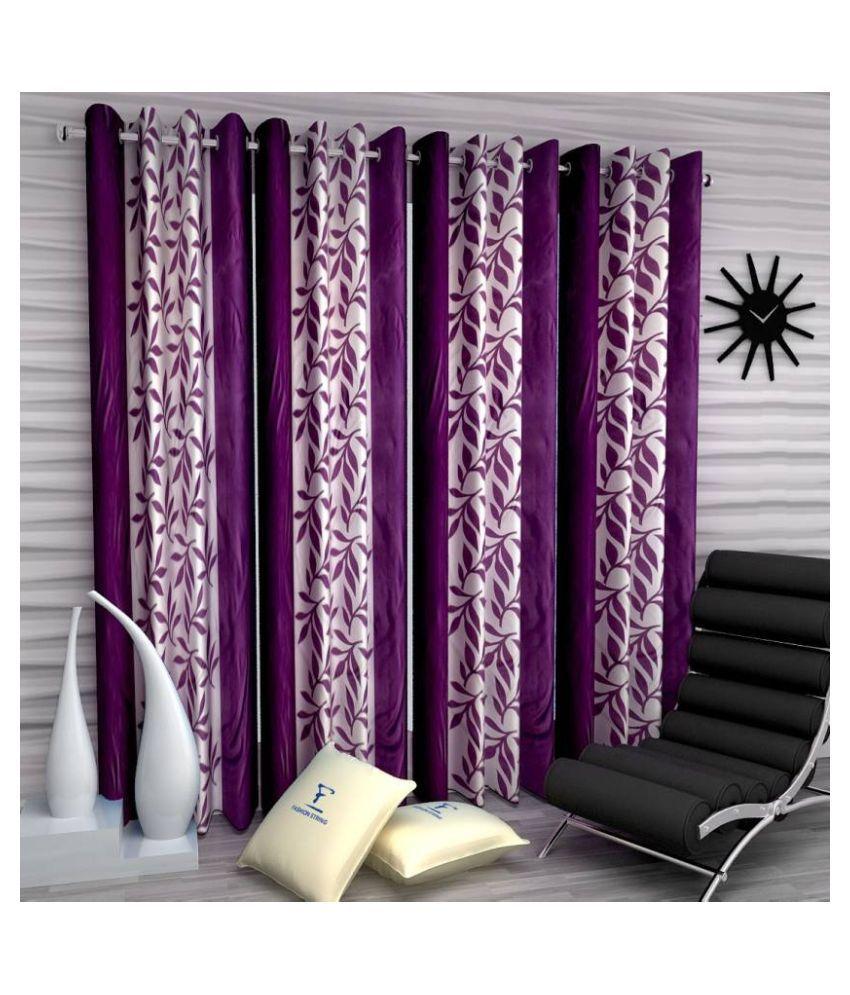 Handloom Hub Set of 4 Door Eyelet Polyester Curtains Purple