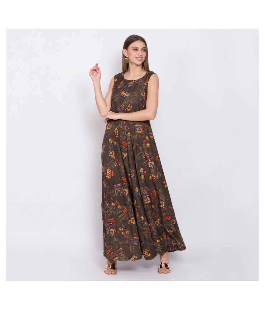 O Madam Crepe Brown Fit And Flare Dress
