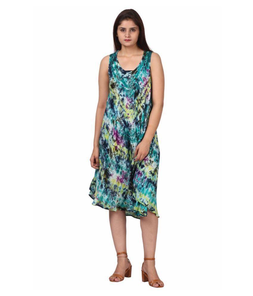 Fit 'N' You Cotton Multi Color A- line Dress