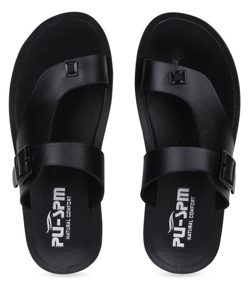 SapSon Black Leather Slippers