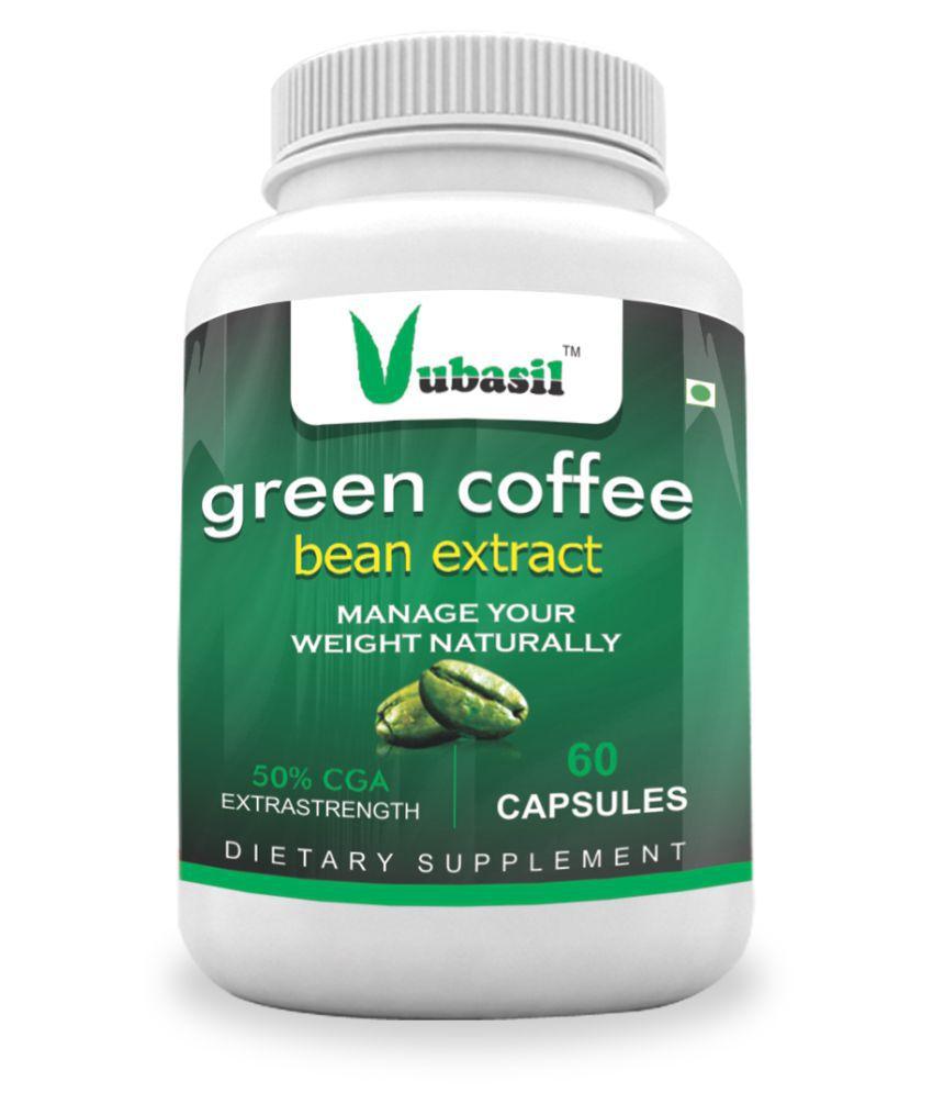 VUBASIL Best Green Coffee (60 Capsules) Weight Loss Fat Burner Lowers Sugar 800 mg Minerals Capsule