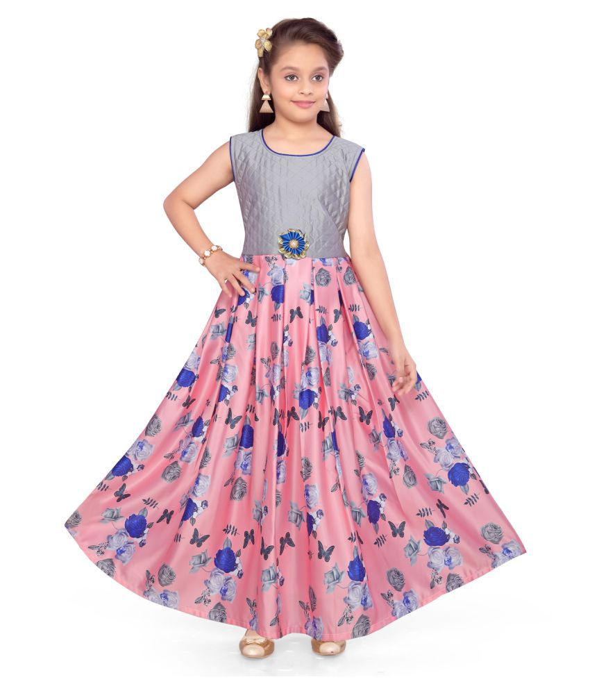 Aarika Girl's Peach coloured Party Wear Gown with Unstich Sleeves