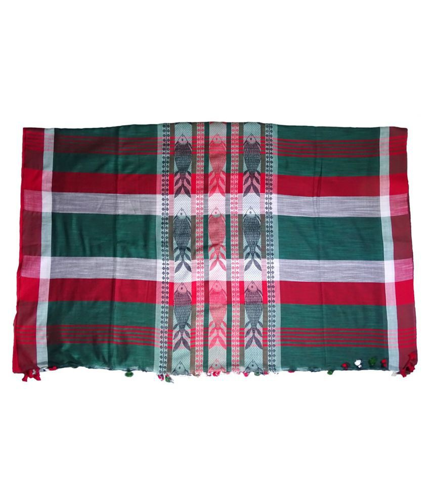 Baangaalee Ventures Green,Red Cotton Saree
