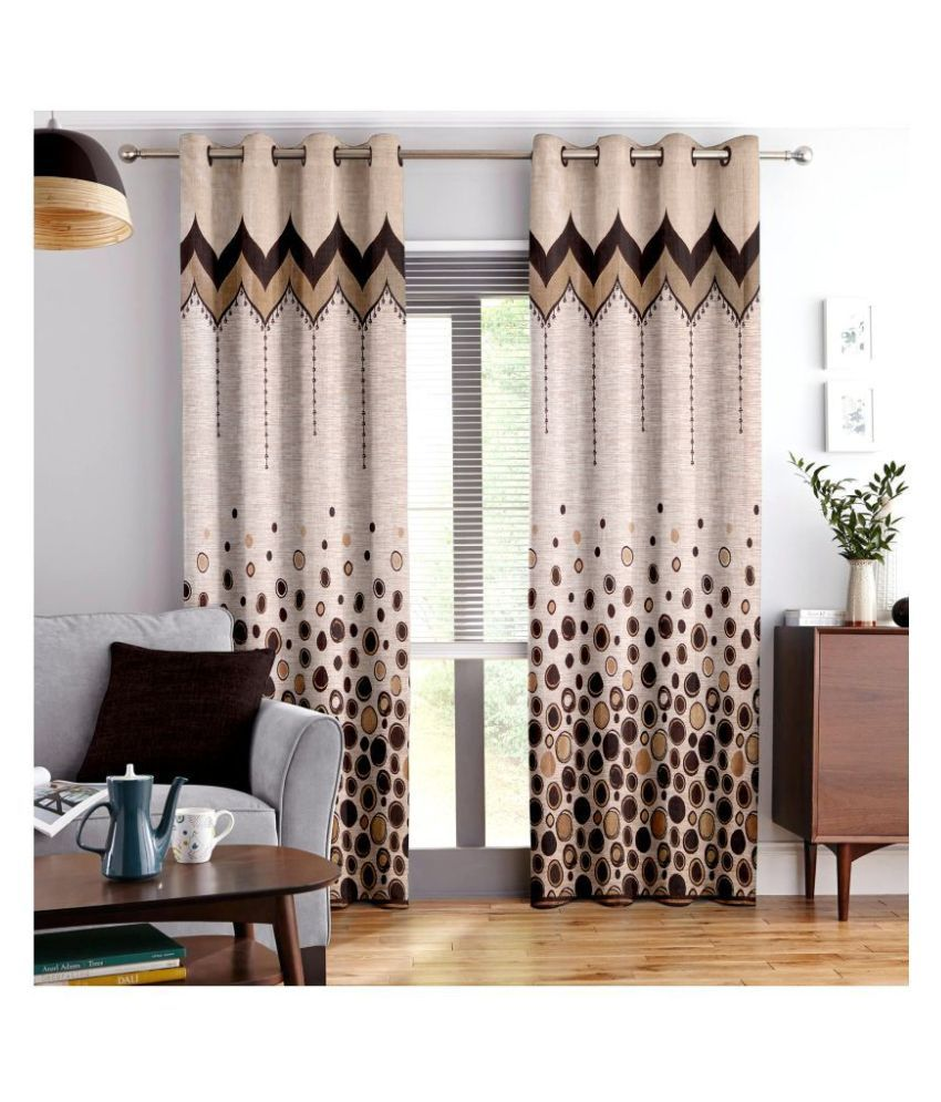 Story@Home Single Window Semi-Transparent Eyelet Polyester Curtains Brown