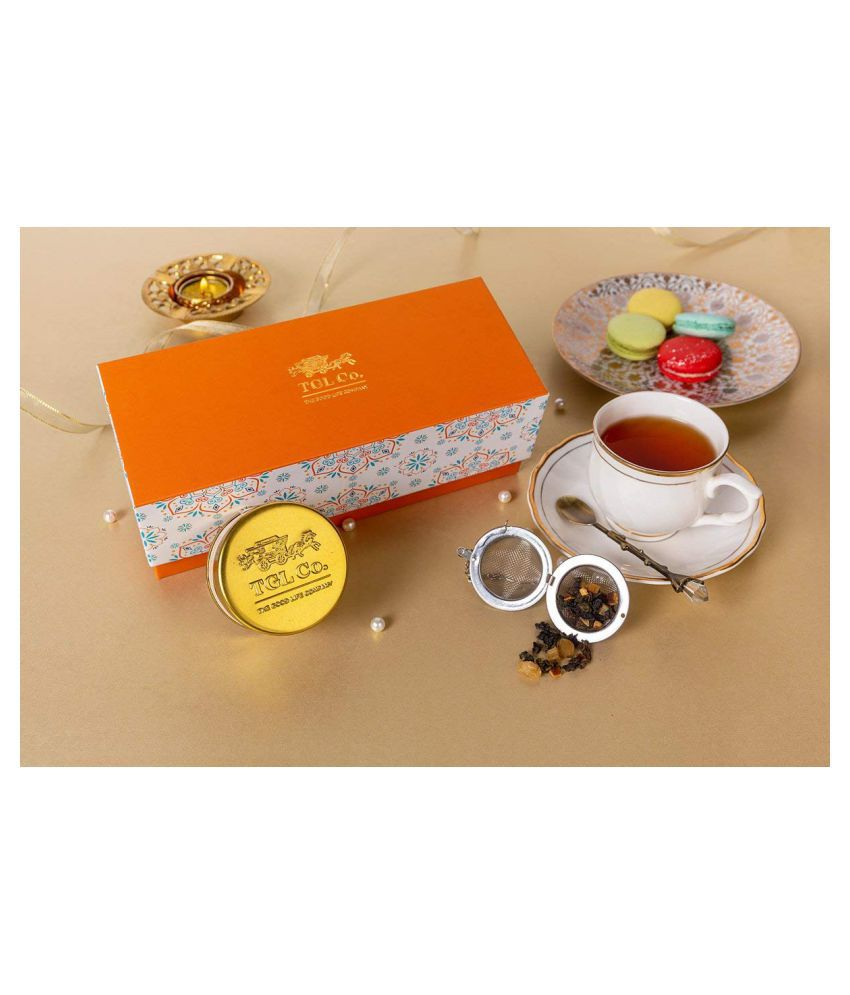 TGL Crafted Celebration Orange 30g, Tea Gift Hampers with 2 teas in Golden airtight tin