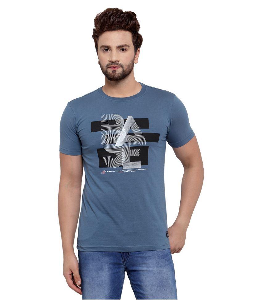 Cantabil Cotton Blend Blue Printed T-Shirt