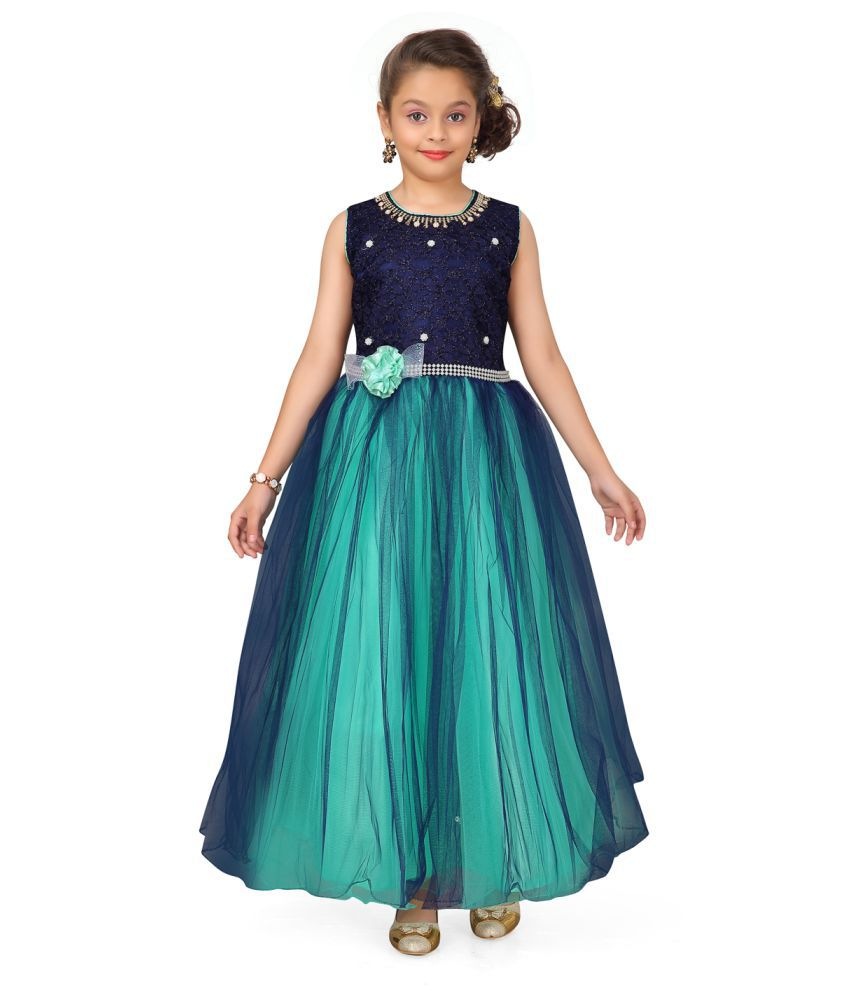 Aarika Girl's Green and Navy coloured Party Wear Gown with Unstich Sleeves
