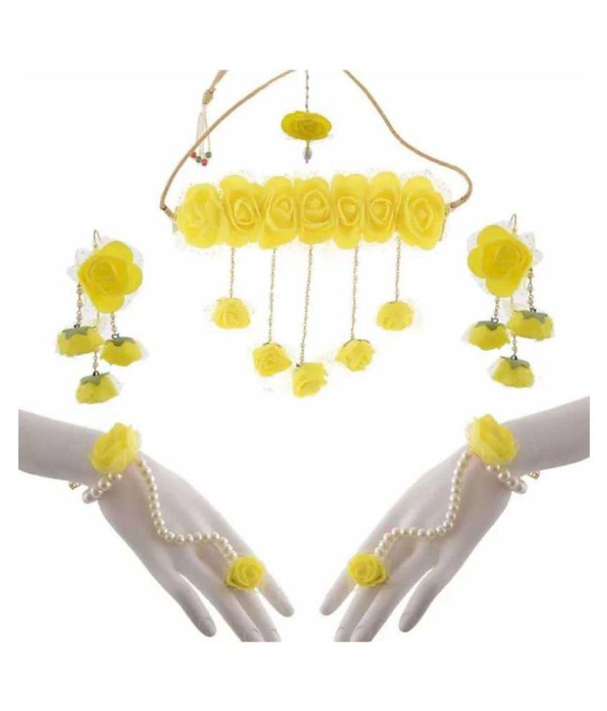 LAMANSH Floral Jewellery Set For Haldi Jewellery Set For Women & Girls Flower Jewellery Set For Sangeet & Mehendi