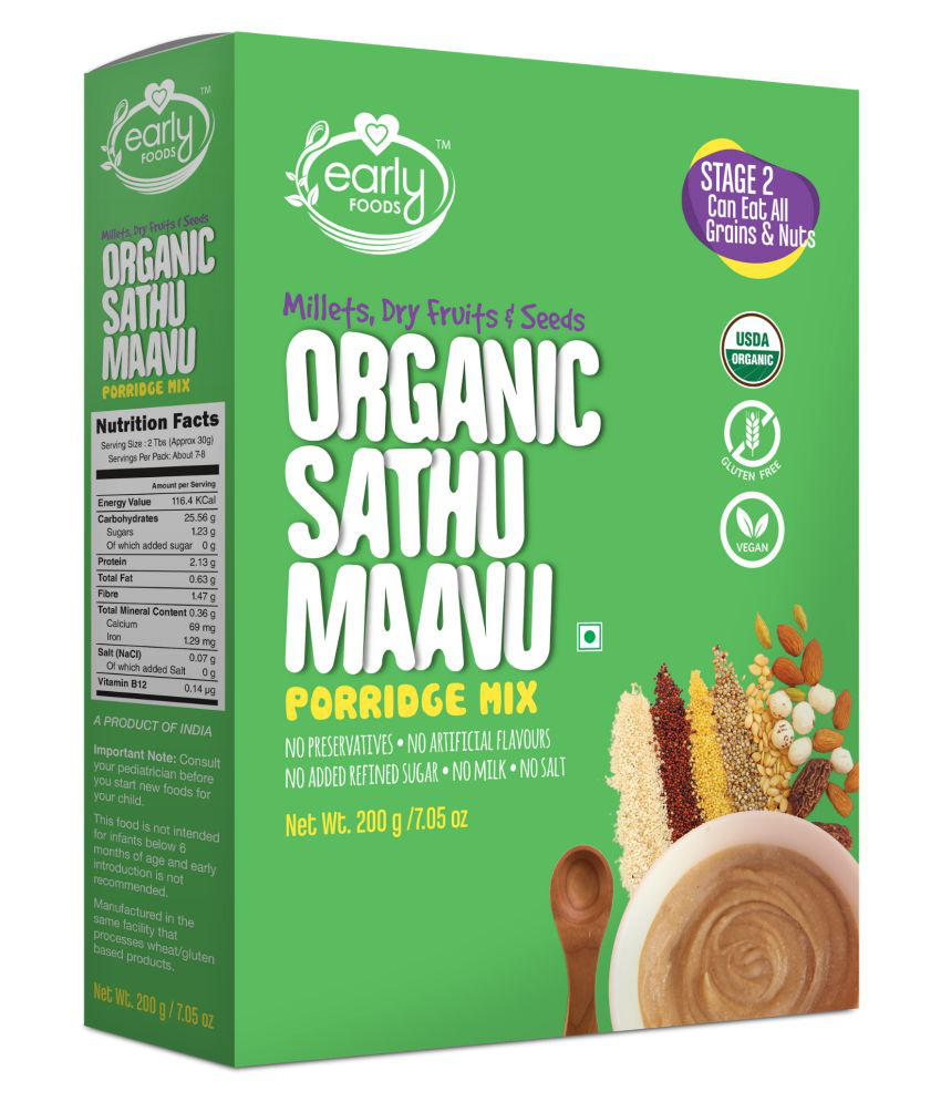Early Foods Organic Sattu Maavu Multigrain Millets Infant Cereal for 12 Months + ( 200 gm )