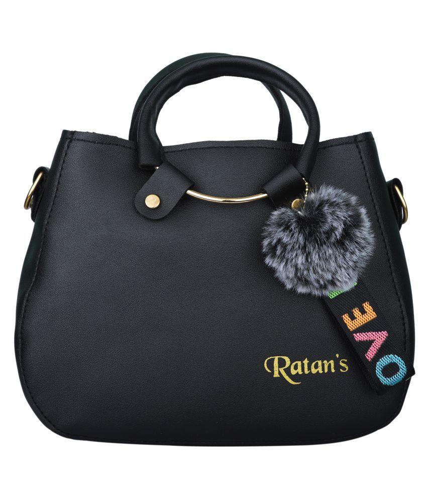 Ratan's Black Faux Leather Sling Bag