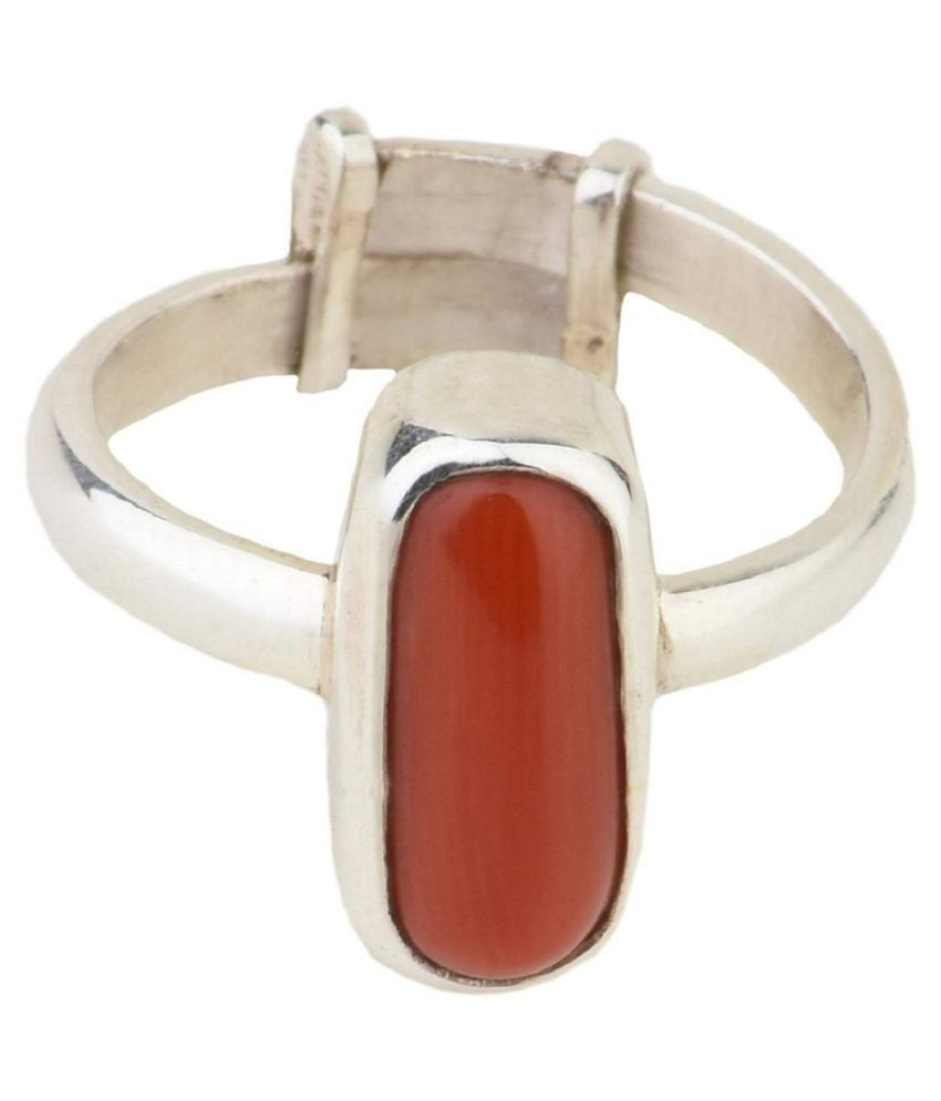 11.25 Carat Natural Moonga Silver Ring Munga Ring Original Certified Red Coral Ring Capsule Shape Astrological Purpose Silver Plated Adjustable Ring Size 16 – 24 for men and women