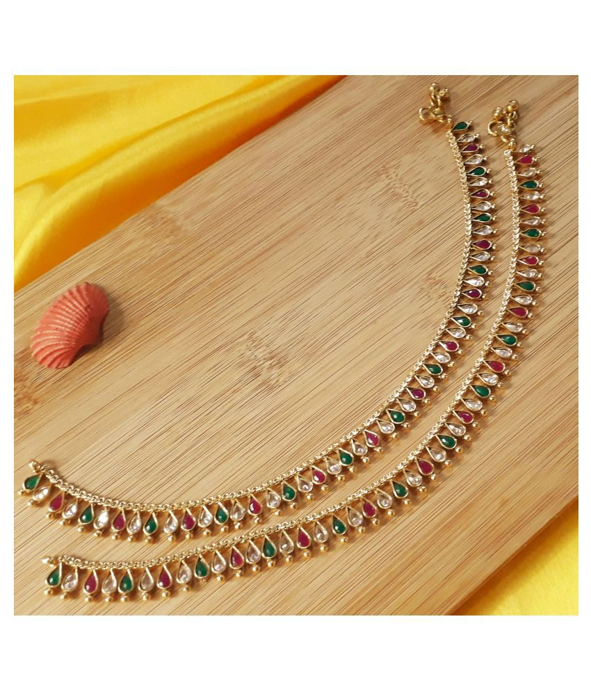 Mrigangi Paan Stone Traditional Bridal Polki Payal for Women and Girls (Golden, Ruby Green)